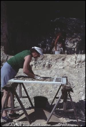 Primary view of object titled '[Virginia Wilcox at a Mastodon Dig Site]'.