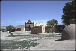 Primary view of object titled '[Church in San Ildefonso Pueblo]'.