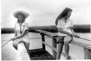 Primary view of object titled '[Helen Jane Farmer and Mary Jones Prowell fishing]'.