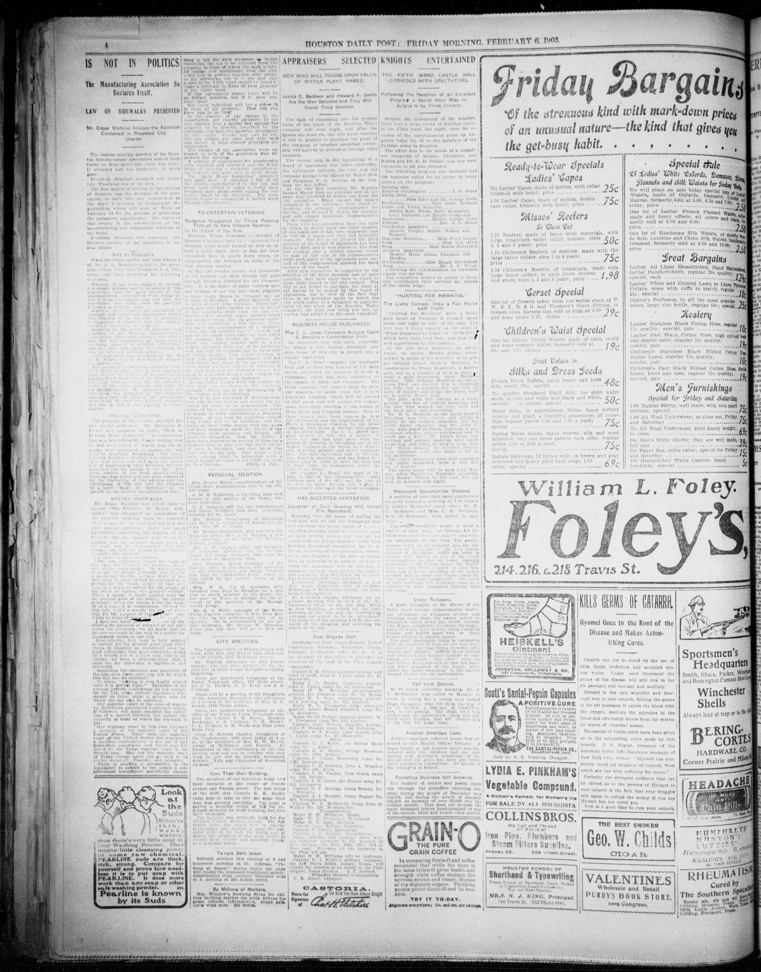 The Houston Daily Post (Houston, Tex.), Vol. XVIIITH YEAR, No. 308, Ed. 1, Friday, February 6, 1903                                                                                                      [Sequence #]: 4 of 12