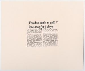 Primary view of object titled '[Freedom Train Schedule Article]'.
