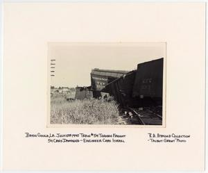 Primary view of object titled '[Wrecked Freight Cars in Bayou Goula, Louisiana]'.