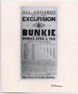 Primary view of object titled '[Special Train Excursion Advertisement]'.