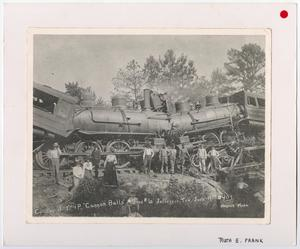Primary view of object titled '[Group Photo Posing in Front of a Train Wreck]'.