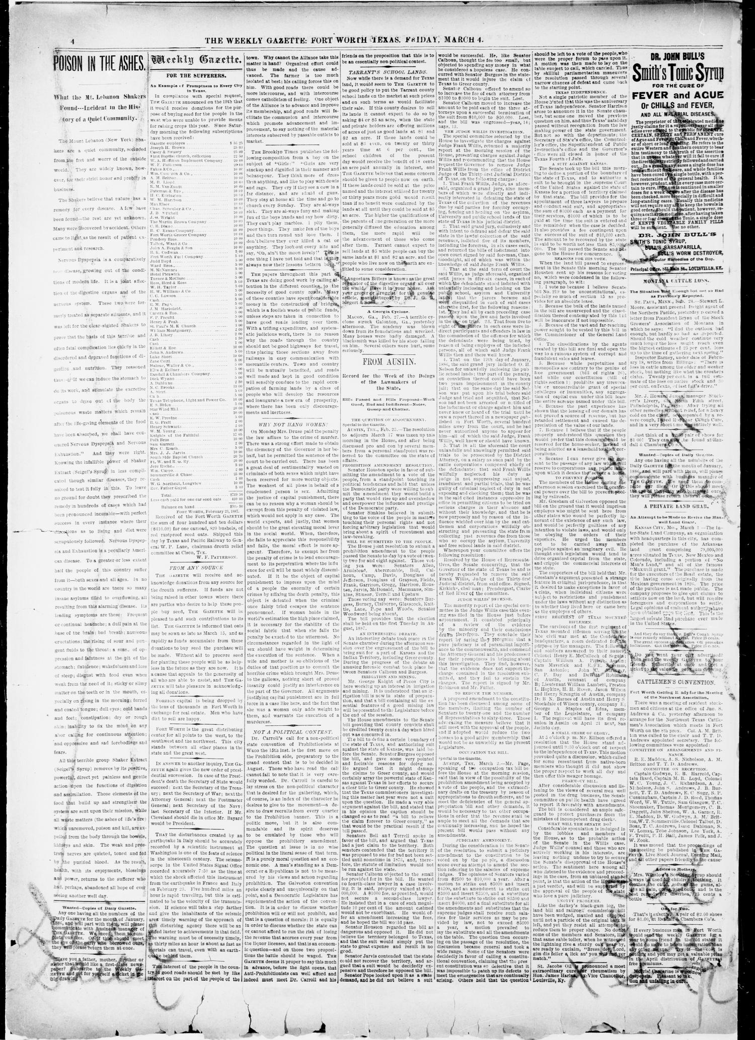 Fort Worth Weekly Gazette. (Fort Worth, Tex.), Vol. 17, No. 11, Ed. 1, Friday, March 4, 1887 - Page 4 of 8 - The Portal to Texas History