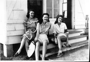 Primary view of object titled '[Mary Jones Prowell, Virginia Davis Scarborough, and Helen Jane Farmer sitting on steps at Observation Post]'.