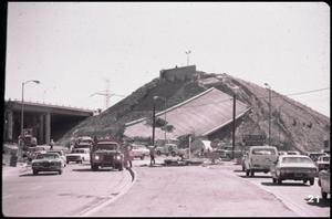 Primary view of object titled '[Collapsed Overpass at the Foothill Freeway Interchange]'.