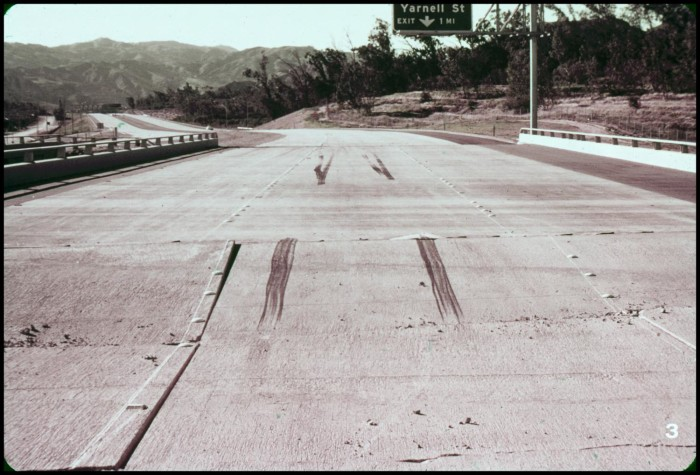 skid marks on a buckled overpass the portal to texas history
