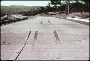 Primary view of object titled '[Skid Marks on a Buckled Overpass]'.