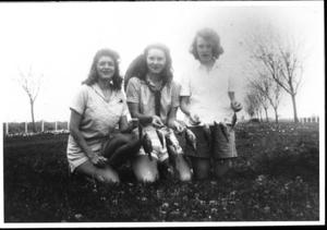 Primary view of object titled '[Helen Jane Farmer, Virginia Davis Scarborough, and Mary Jones Prowell with fish]'.