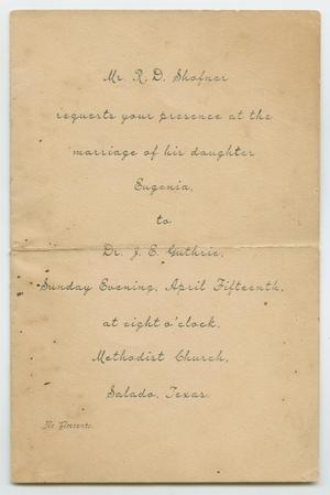 [Wedding Invitation from R. D. Shafner]