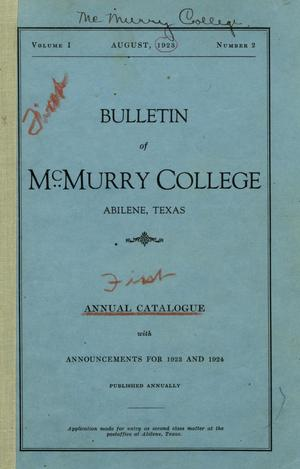 Primary view of object titled 'Bulletin of McMurry College, [1923]'.