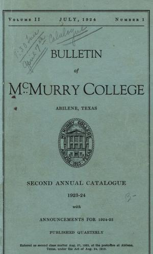 Primary view of object titled 'Bulletin of McMurry College, 1923-1924'.