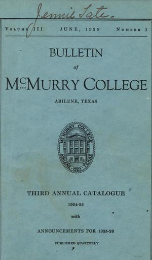 Primary view of object titled 'Bulletin of McMurry College, 1924-1925'.