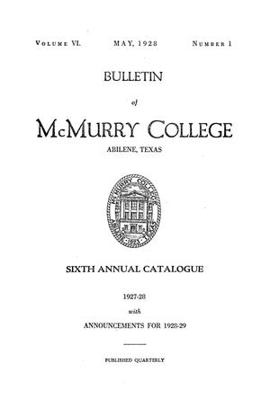 Bulletin of McMurry College, 1927-1928