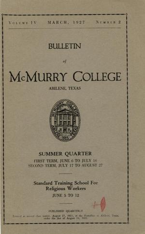 Bulletin of McMurry College, 1927 summer quarter