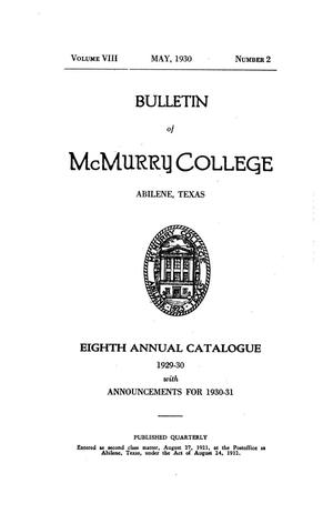 Primary view of object titled 'Bulletin of McMurry College, 1929-1930'.