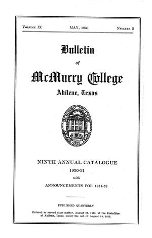 Primary view of object titled 'Bulletin of McMurry College, 1930-1931'.