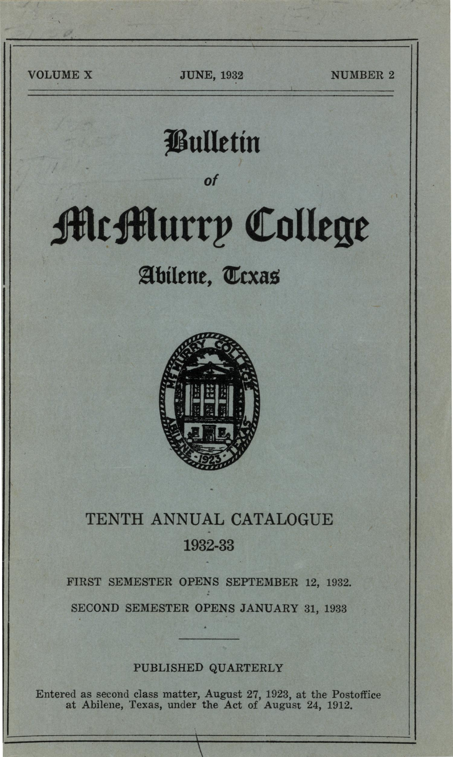 Bulletin of McMurry College, 1932-1933                                                                                                      [Sequence #]: 1 of 98