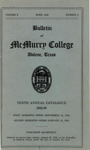 Primary view of object titled 'Bulletin of McMurry College, 1932-1933'.