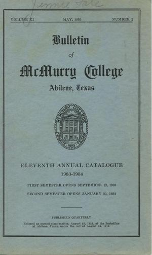 Primary view of object titled 'Bulletin of McMurry College, 1933-1934'.
