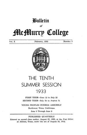 Primary view of object titled 'Bulletin of McMurry College, 1933 summer session'.
