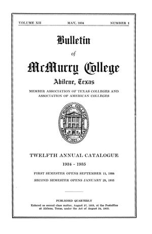 Primary view of object titled 'Bulletin of McMurry College, 1934-1935'.