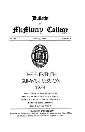 Bulletin of McMurry College, 1934 summer session
