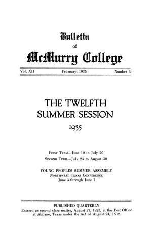 Bulletin of McMurry College, 1935 summer session