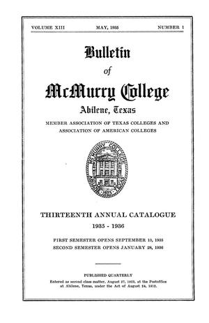 Primary view of object titled 'Bulletin of McMurry College, 1935-1936'.
