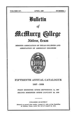 Primary view of object titled 'Bulletin of McMurry College, 1937-1938'.