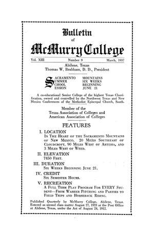 Primary view of object titled 'Bulletin of McMurry College, 1937 Sacramento Mountains summer school session'.