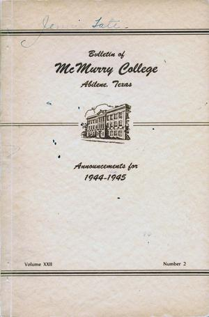 Bulletin of McMurry College, 1944-1945