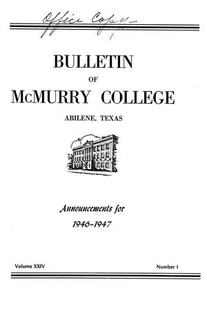 Bulletin of McMurry College, 1946-1947
