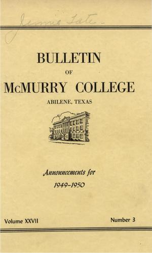 Primary view of object titled 'Bulletin of McMurry College, 1949-1950'.