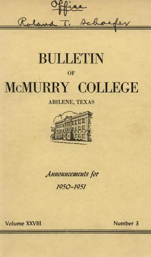 Primary view of object titled 'Bulletin of McMurry College, 1950-1951'.