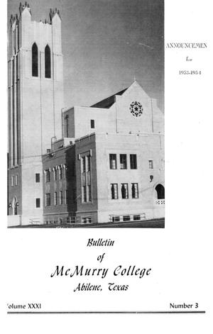 Primary view of object titled 'Bulletin of McMurry College, 1953-1954'.