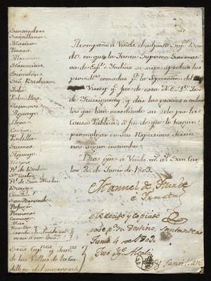 Primary view of [Message from Manuel de Iturbe to Thirty Towns and Villas]