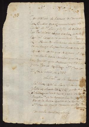 Primary view of [Correspondence between Governor de Lorca y Villena and Santiago de Jesús Sánchez]