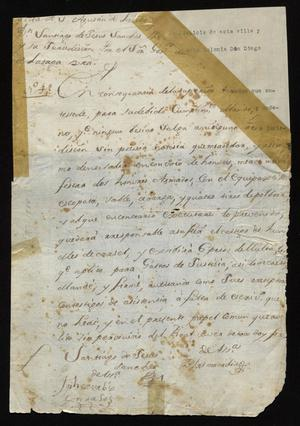 Primary view of [Notice from Santiago de Jesús Sánchez to Citizens of Laredo]