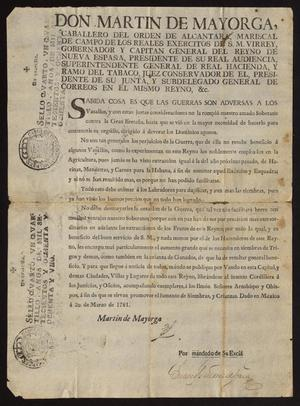 Primary view of [Decree from Viceroy Martín de Mayorga Ferrer Concerning Agriculture]