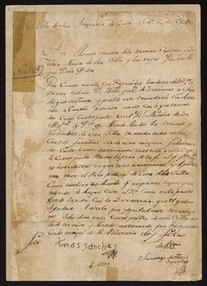 Primary view of [Decree from Thomas Sánchez de la Barrera y Gallardo]
