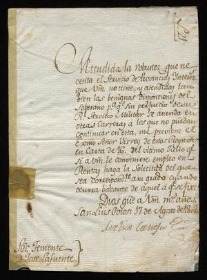 Primary view of [Letter from Meliso Caneja to Teniente José Lafuente, August 17, 1802]