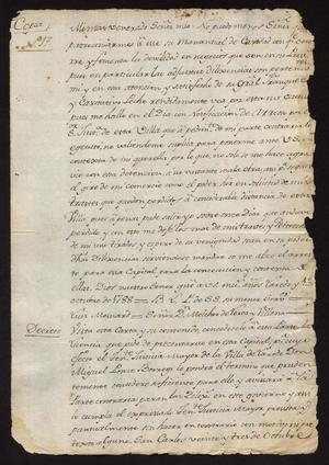 Primary view of [Copy of Correspondence between Luis Menard and the Governor]