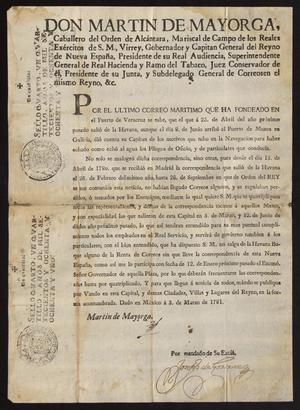 Primary view of [Decree from Viceroy Martín de Mayorga Ferrer]