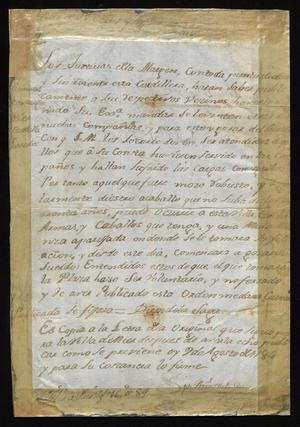 Primary view of [Announcement from Joseph Antonio de la Garza Falcón]