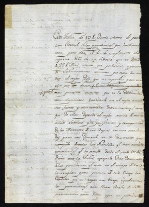 Primary view of [Letter from José Antonio Benavides to Governor Joaquín de Arredondo, August 25, 1811]