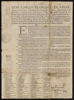 Primary view of [Printed Royal Edict from King Carlos III]