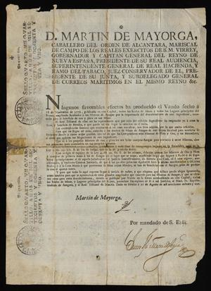 Primary view of object titled '[Printed Decree from Viceroy Martín de Mayorga Ferrer]'.