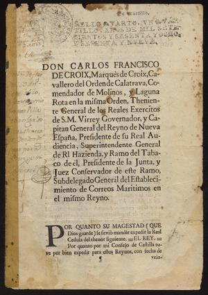 Primary view of [Royal Decree from King Carlos III to the Marques de Croix]